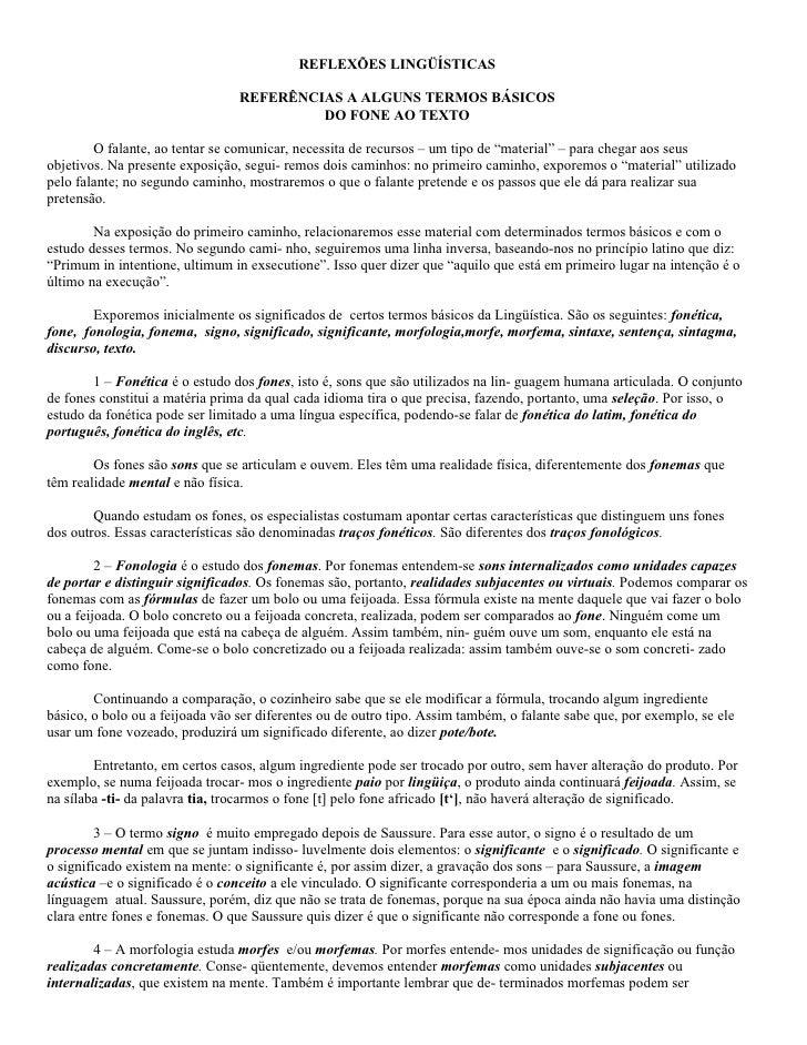 REFLEXÕES LINGÜÍSTICAS                                   REFERÊNCIAS A ALGUNS TERMOS BÁSICOS                              ...