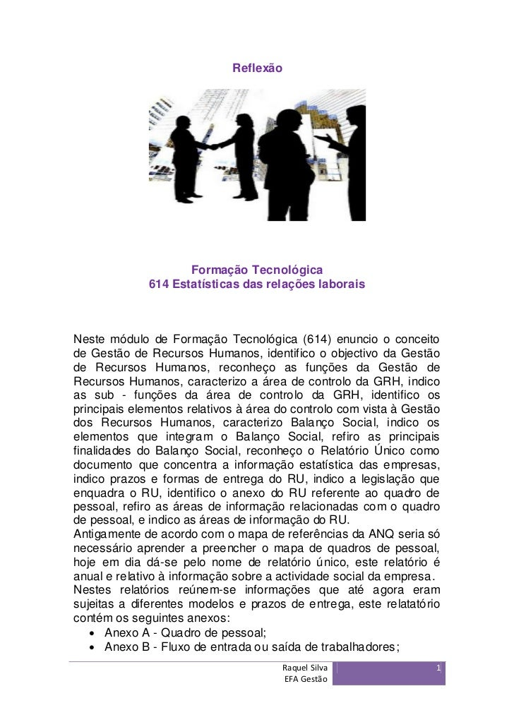 Reflexão                    Formação Tecnológica             614 Estatísticas das relações laboraisNeste módulo de Formaçã...