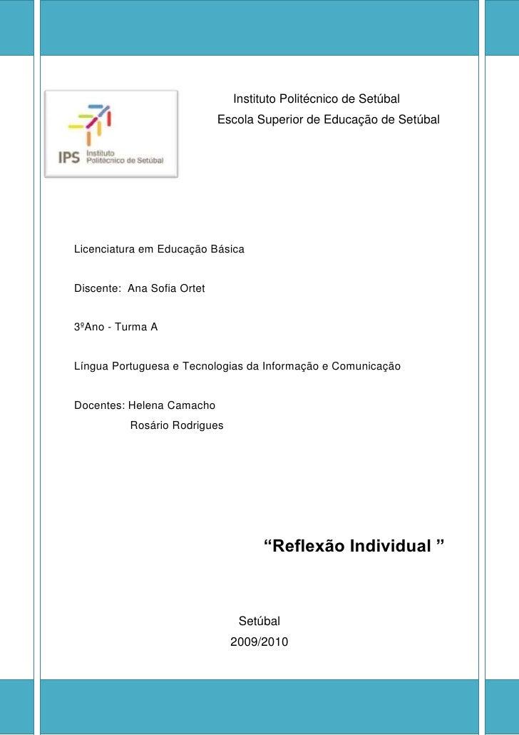 Instituto Politécnico de Setúbal                             Escola Superior de Educação de Setúbal     Licenciatura em Ed...