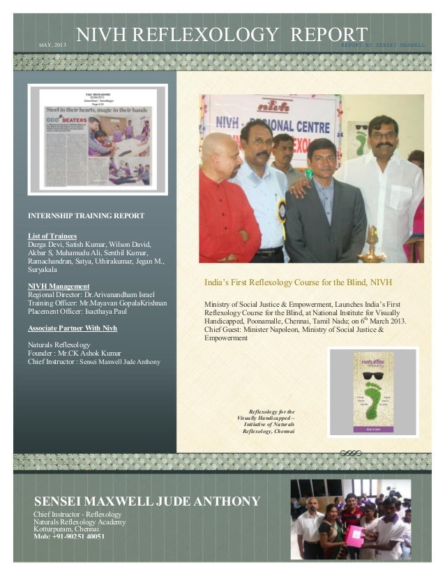 """NIVH REFLEXOLOGY REPORT India""""s First Reflexology Course for the Blind, NIVH Ministry of Social Justice & Empowerment, Lau..."""