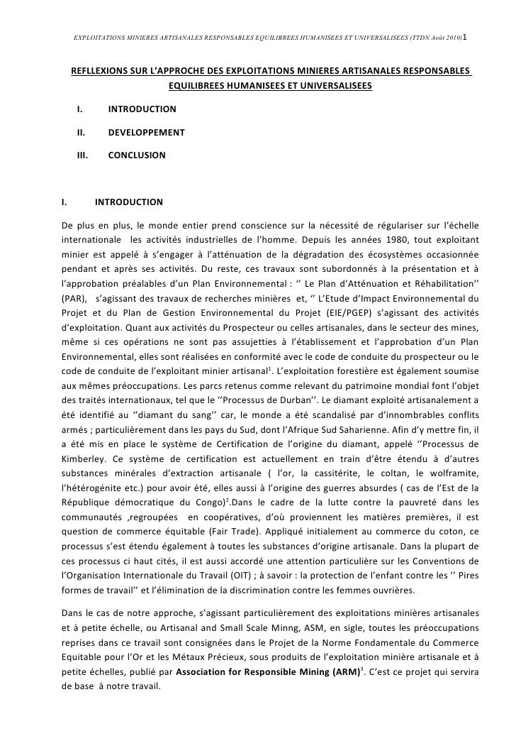 EXPLOITATIONS MINIERES ARTISANALES RESPONSABLES EQUILIBREES HUMANISEES ET UNIVERSALISEES (TTDN Août 2010)1         REFLLEX...