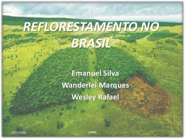 REFLORESTAMENTO NO BRASIL Emanuel Silva Wanderlei Marques Wesley Rafael 25/11/2015 1UFRPE