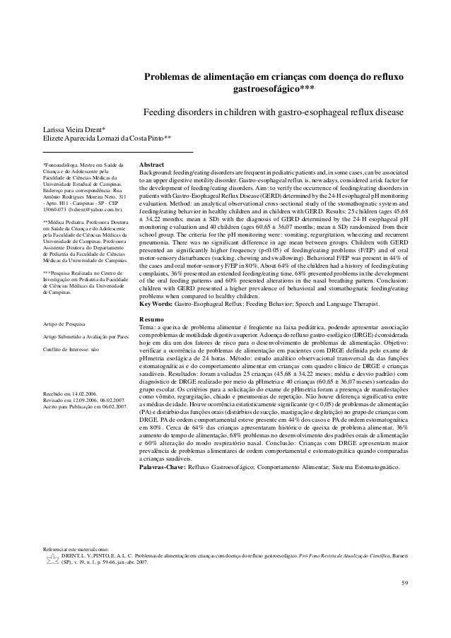 59 Pró-Fono Revista de Atualização Científica, v. 19, n. 1, jan.-abr. 2007 Problemas de alimentação em crianças com doença...