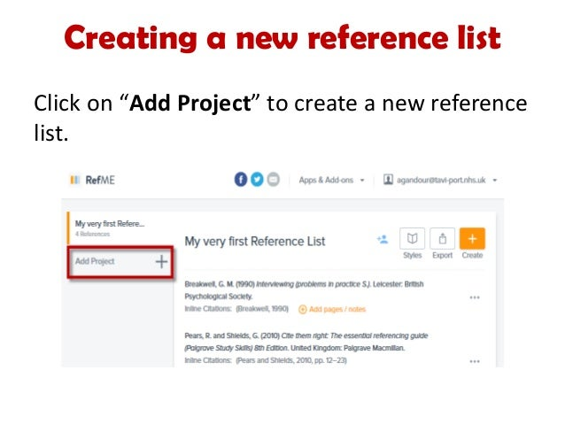How to use RefMe to create a reference list – Reference List