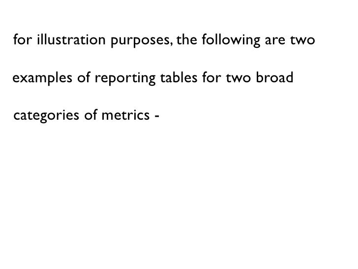 for illustration purposes, the following are two  examples of reporting tables for two broad  categories of metrics -  inc...