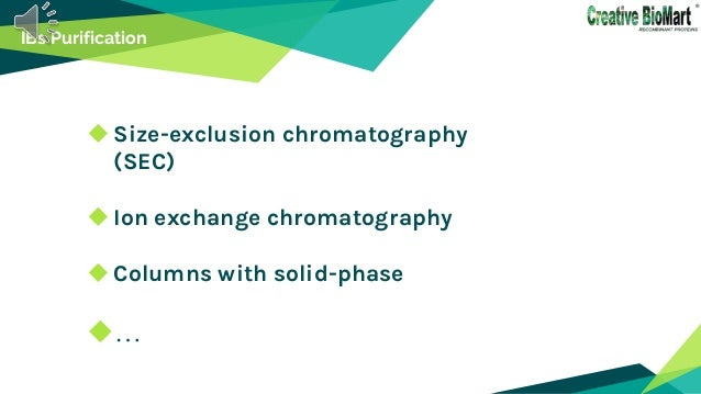 IBs Purification Size-exclusion chromatography (SEC) Ion exchange chromatography Columns with solid-phase …