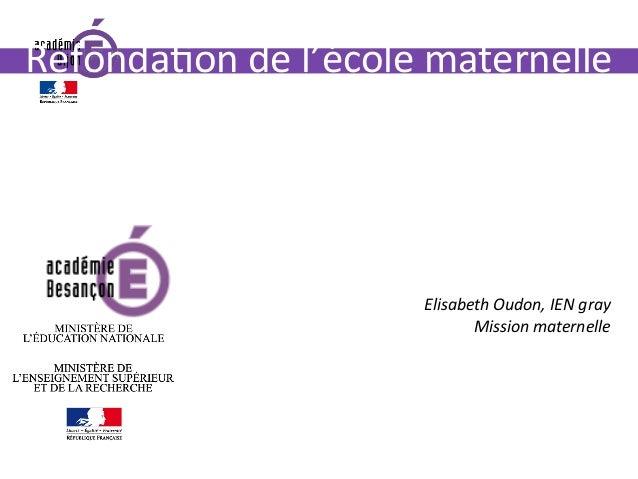 www.ac-dijon.fr Refonda0ondel'écolematernelle etnouveauxprogrammes: changementsetpointsdevigilance Elisabet...