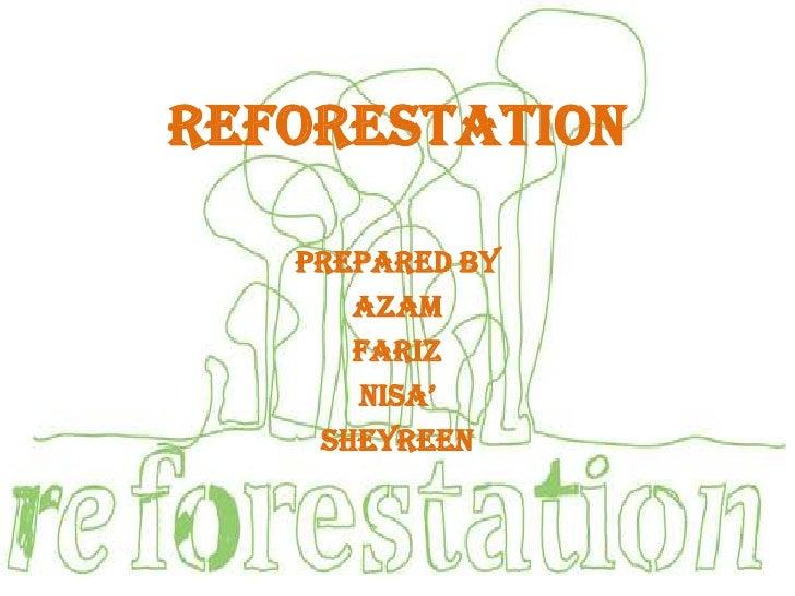REFORESTATION   Prepared by      Azam      Fariz      Nisa'    Sheyreen
