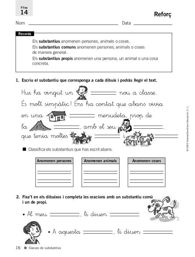 16 ©2005Voramar/SantillanaEducación,S.L. ■ Classes de substantius Reforç Nom Data Fitxa 14 Recorda Els substantius anomene...