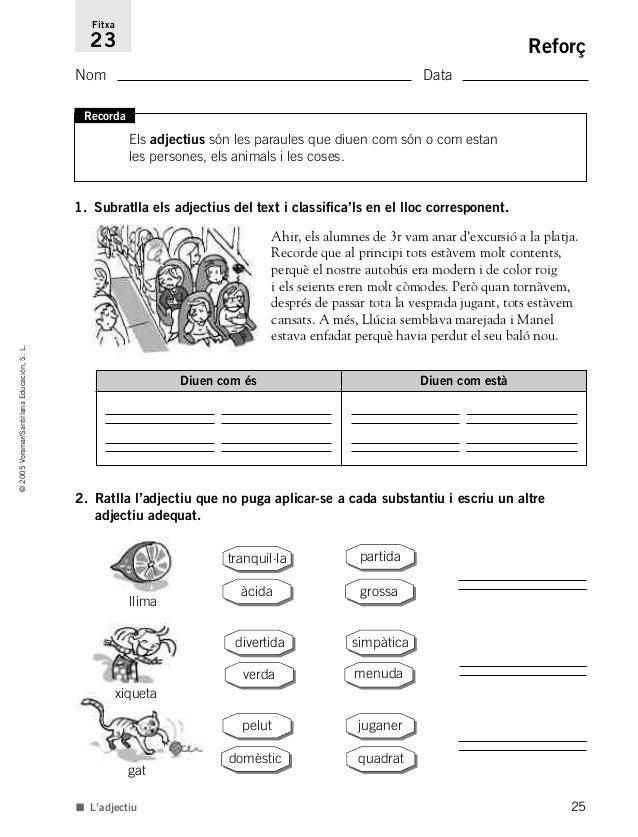 25 ©2005Voramar/SantillanaEducación,S.L. Reforç Nom Data Fitxa 23 1. Subratlla els adjectius del text i classifica'ls en e...