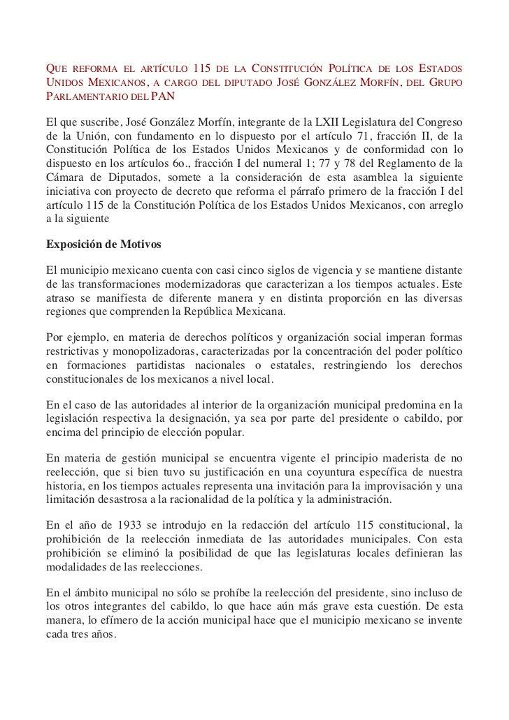QUE REFORMA EL ARTÍCULO 115 DE LA CONSTITUCIÓN POLÍTICA DE LOS ESTADOSUNIDOS MEXICANOS, A CARGO DEL DIPUTADO JOSÉ GONZÁLEZ...