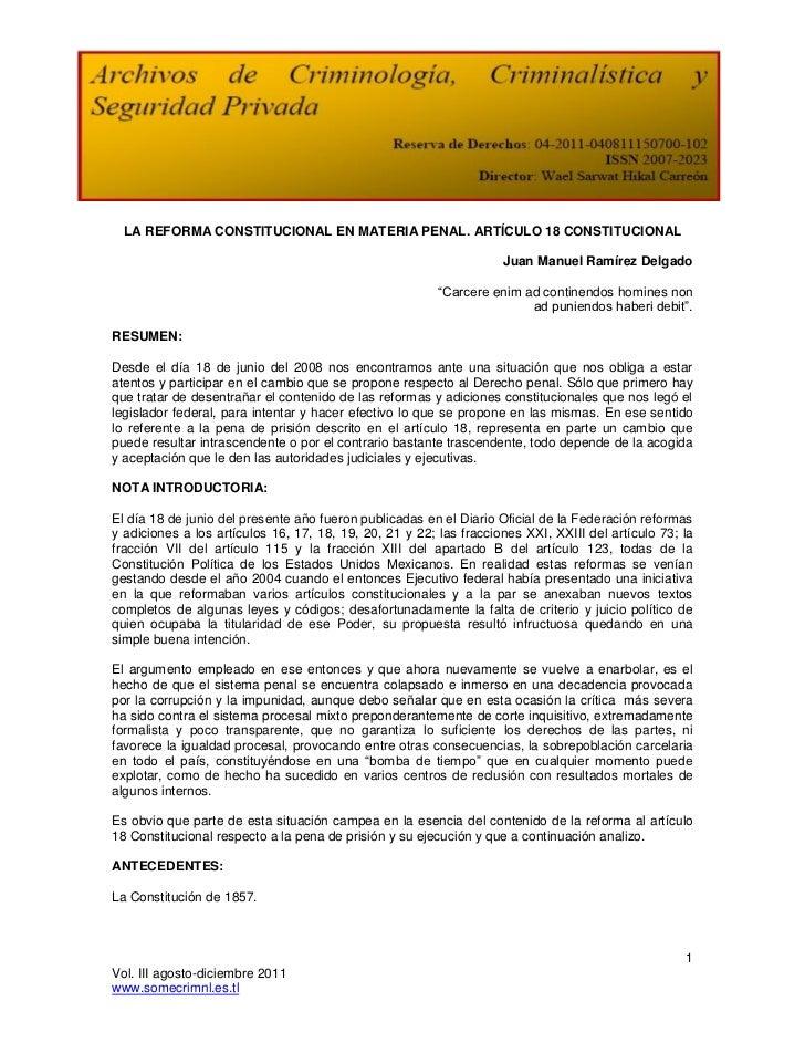 LA REFORMA CONSTITUCIONAL EN MATERIA PENAL. ARTÍCULO 18 CONSTITUCIONAL                                                    ...