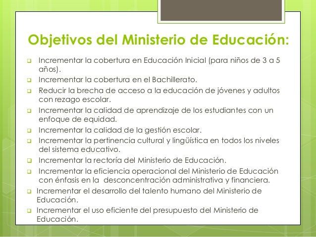 Reforma educativa en el ecuador for Ministerio de educacion plazas