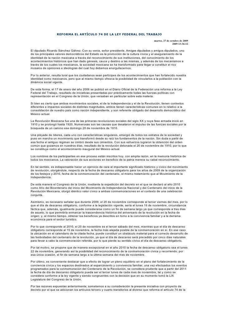 REFORMA EL ARTÍCULO 74 DE LA LEY FEDERAL DEL TRABAJO                                                                      ...