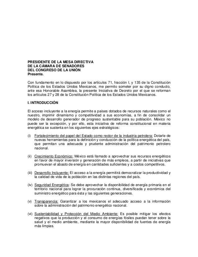 PRESIDENTE DE LA MESA DIRECTIVA DE LA CÁMARA DE SENADORES DEL CONGRESO DE LA UNIÓN Presente. Con fundamento en lo dispuest...