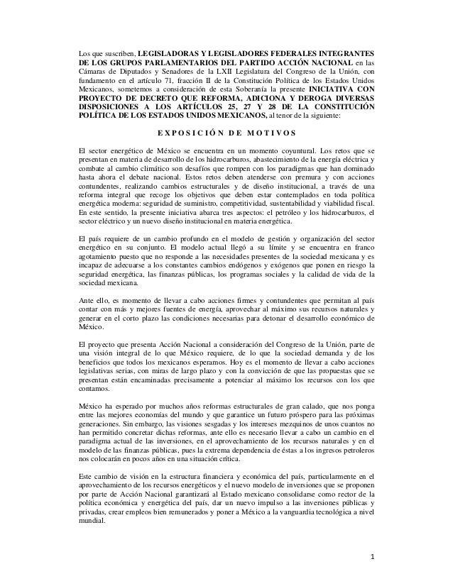 1 Los que suscriben, LEGISLADORAS Y LEGISLADORES FEDERALES INTEGRANTES DE LOS GRUPOS PARLAMENTARIOS DEL PARTIDO ACCIÓN...