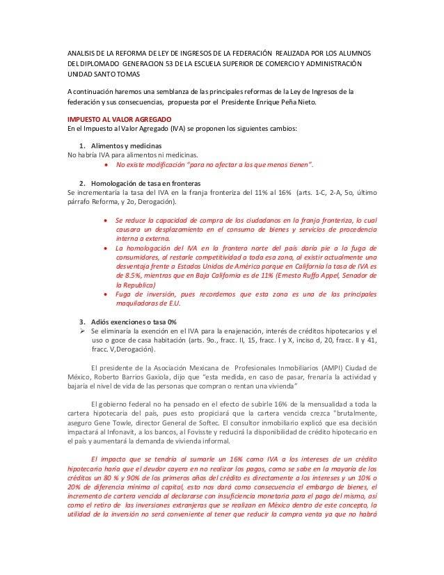ANALISISDELAREFORMADELEYDEINGRESOSDELAFEDERACIÓNREALIZADAPORLOSALUMNOS DELDIPLOMADOGENERACION53DELA...
