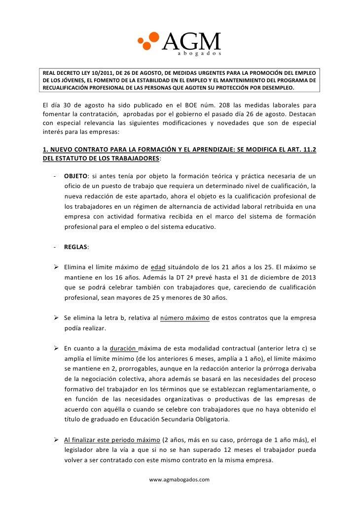 REAL DECRETO LEY 10/2011, DE 26 DE AGOSTO, DE MEDIDAS URGENTES PARA LA PROMOCIÓN DEL EMPLEODE LOS JÓVENES, EL FOMENTO DE L...