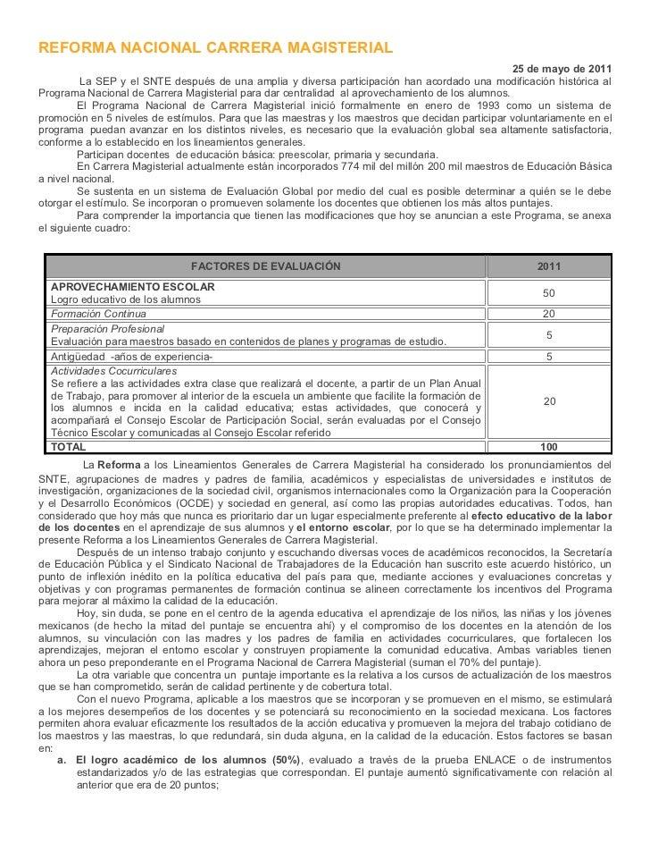 REFORMA NACIONAL CARRERA MAGISTERIAL                                                                                      ...
