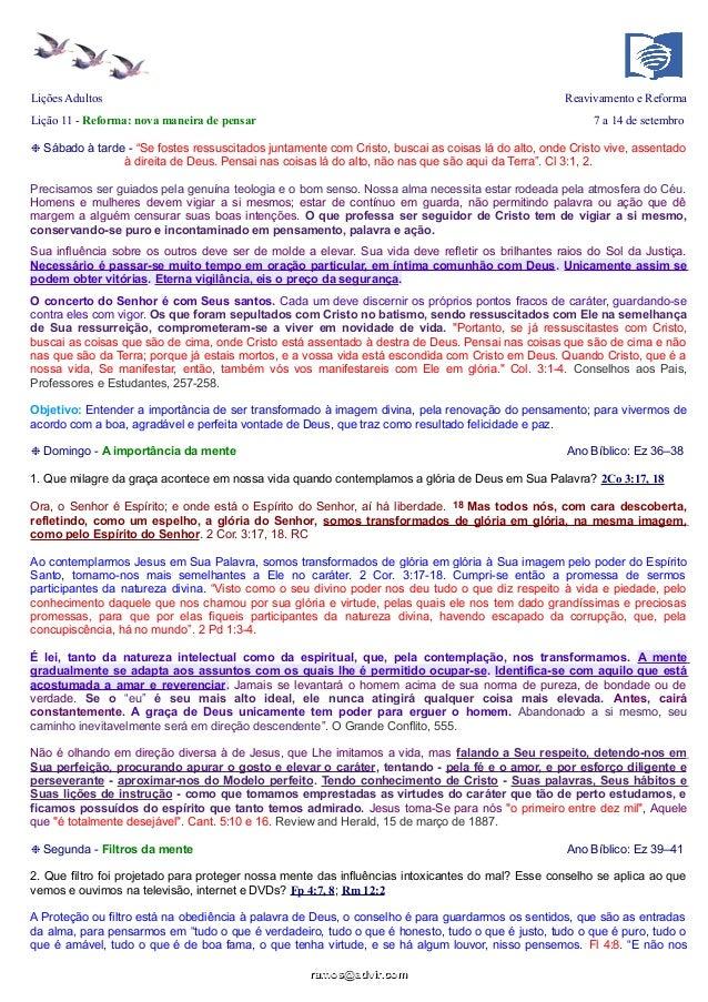 """Lições Adultos Reavivamento e Reforma Lição 11 - Reforma: nova maneira de pensar 7 a 14 de setembro ❉ Sábado à tarde - """"Se..."""