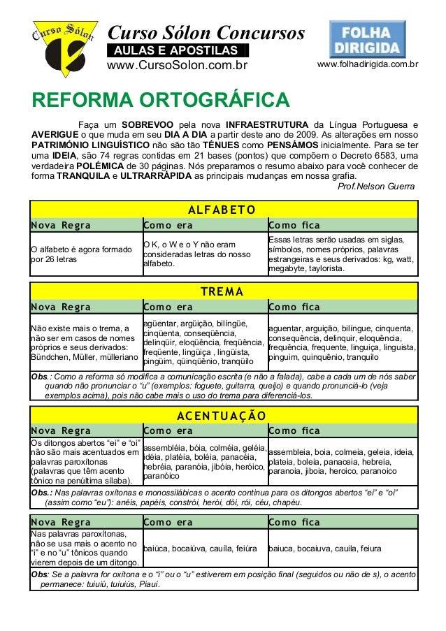 Curso Sólon Concursos AULAS E APOSTILAS : www.CursoSolon.com.br www.folhadirigida.com.br REFORMA ORTOGRÁFICA Faça um SOBRE...