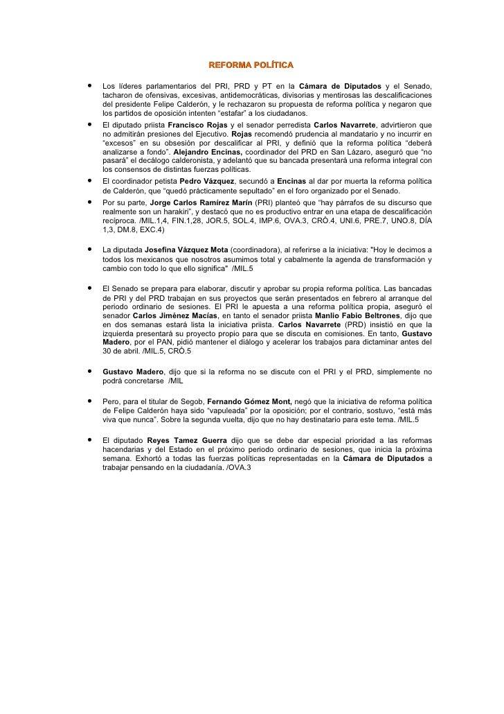 REFORMA POLÍTICA  •   Los líderes parlamentarios del PRI, PRD y PT en la Cámara de Diputados y el Senado,     tacharon de ...
