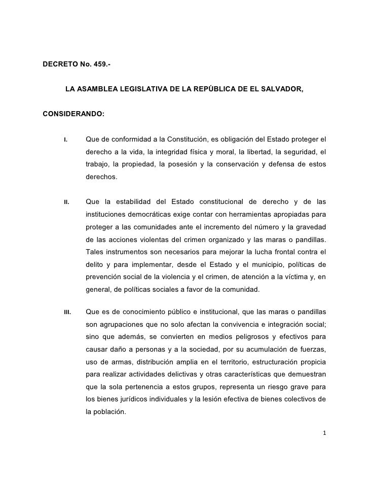 DECRETO No. 459.-        LA ASAMBLEA LEGISLATIVA DE LA REPÚBLICA DE EL SALVADOR,   CONSIDERANDO:        I.     Que de conf...
