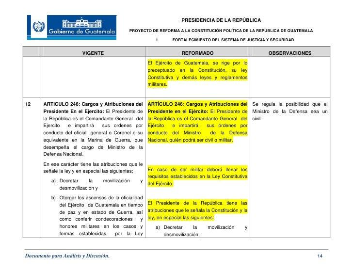 Proyecto De Reforma A La Constituci 243 N Pol 237 Tica De La Rep 250 Blica De Gua