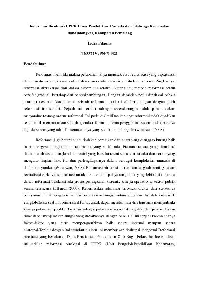 Reformasi Birokrasi UPPK Dinas Pendidikan Pemuda dan Olahraga Kecamatan                            Randudongkal, Kabupaten...