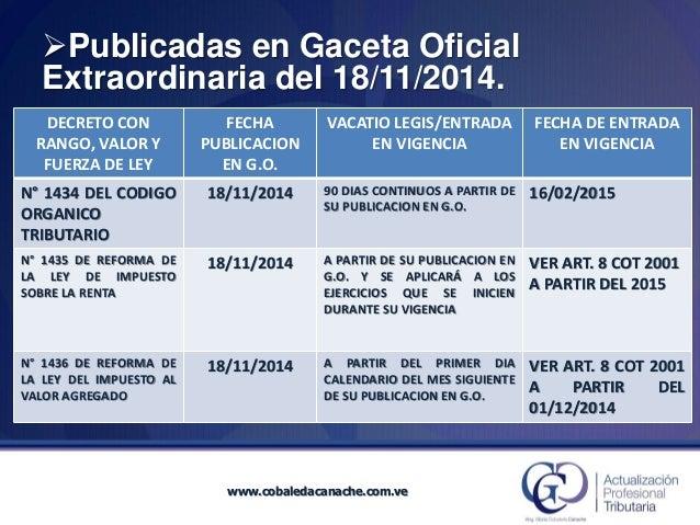 DECRETOCON RANGO, VALOR Y FUERZA DE LEY  FECHA  PUBLICACION EN G.O.  VACATIOLEGIS/ENTRADA EN VIGENCIA  FECHA DE ENTRADA EN...