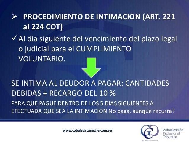 www.cobaledacanache.com.ve  Al día siguiente del vencimiento del plazo legal o judicial para el CUMPLIMIENTO VOLUNTARIO. ...