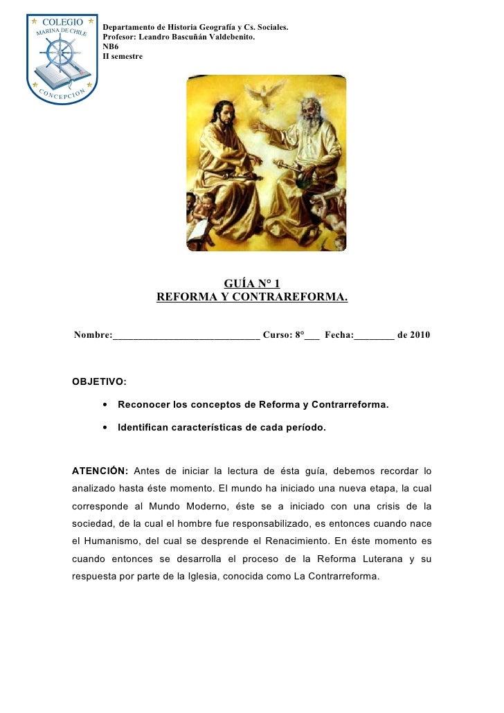 Departamento de Historia Geografía y Cs. Sociales.       Profesor: Leandro Bascuñán Valdebenito.       NB6       II semest...