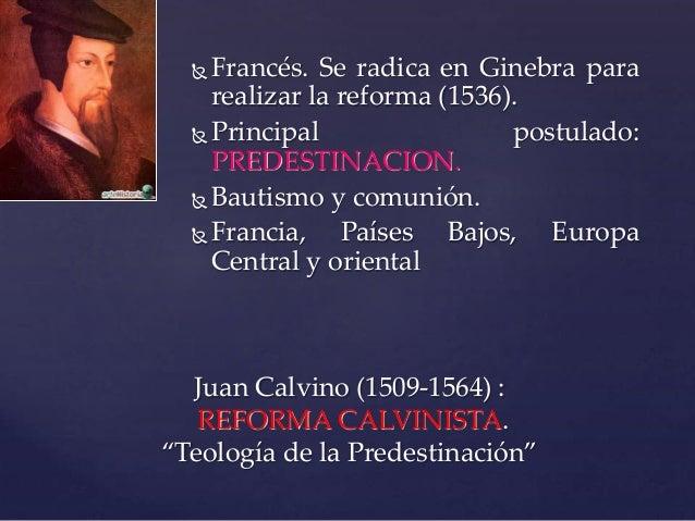 Francés. Se radica en Ginebra para realizar la reforma (1536).  Principal postulado: PREDESTINACION.  Bautismo y comun...