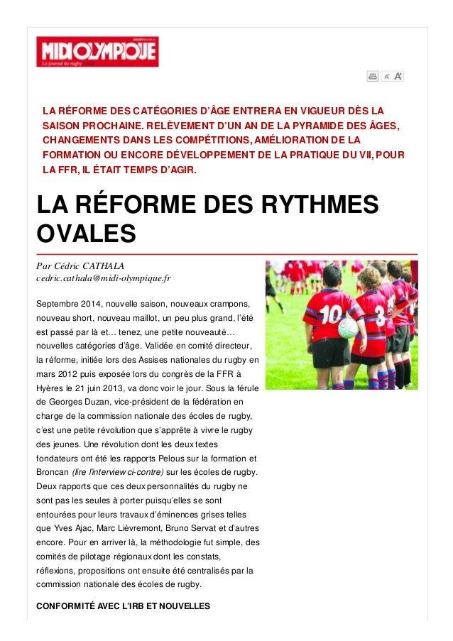 LA RÉFORME DES CATÉGORIES D'ÂGE ENTRERA EN VIGUEUR DÈS LA SAISON PROCHAINE. RELÈVEMENT D'UN AN DE LA PYRAMIDE DES ÂGES, CH...