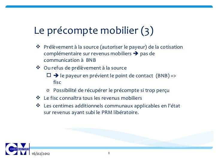 Reforme fiscale 2012 for Calcul precompte