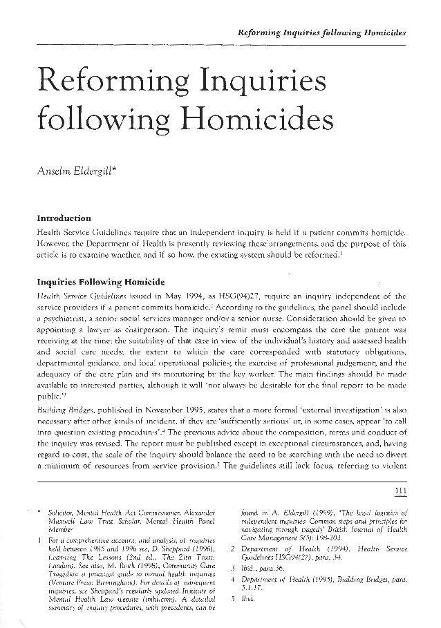 Reforming homicide inquiries
