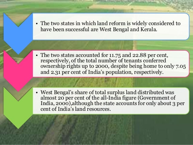 land reforms in india In this article we will discuss about the land reforms in india before and after independence land reforms before independence: the permanent settlement of 1793 created a class of superior proprietors who usurped the unwritten but age-old rights of tenants in their lands.