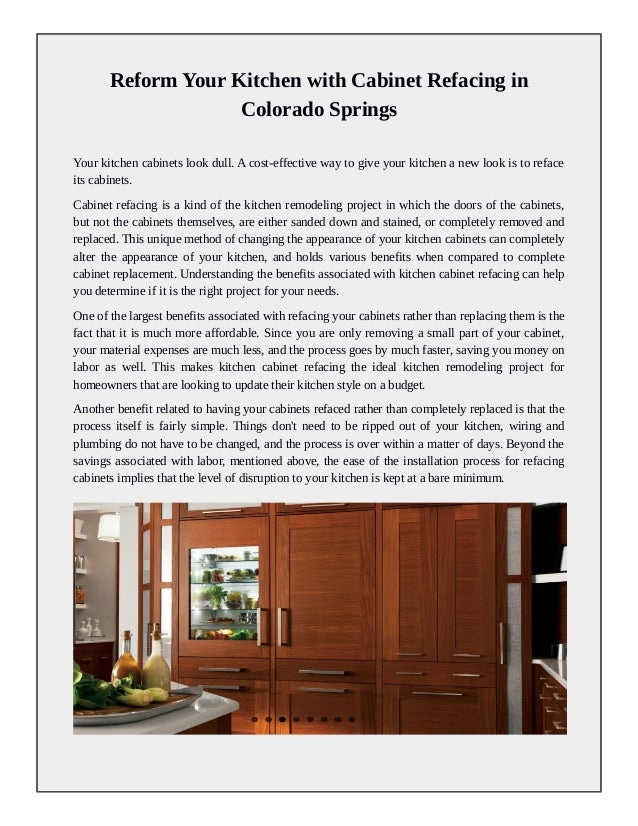 Kitchen Cabinet Refacing Colorado Springs Reform Your Kitchen with CabiRefacing in Colorado Springs