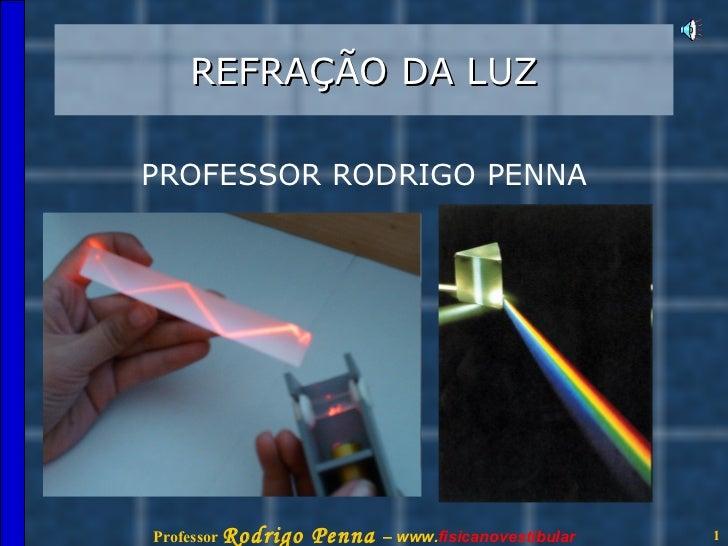 REFRAÇÃO DA LUZ PROFESSOR RODRIGO PENNA