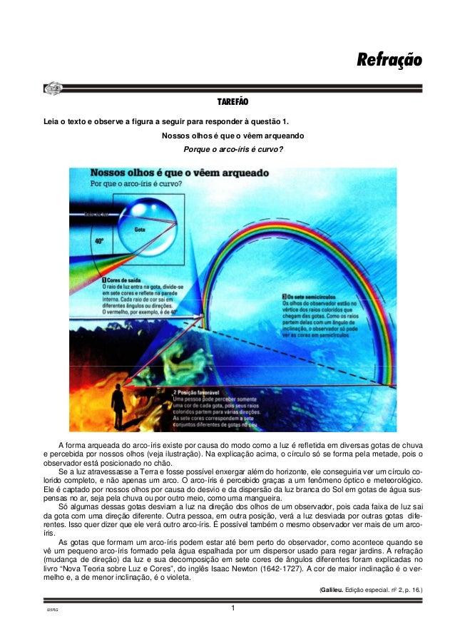 Refração  TAREFÃO  Leia o texto e observe a figura a seguir para responder à questão 1.  Nossos olhos é que o vêem arquean...