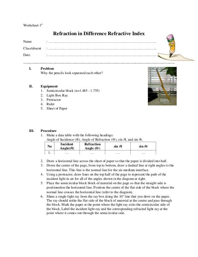 Worksheet - Refraction in difference medium