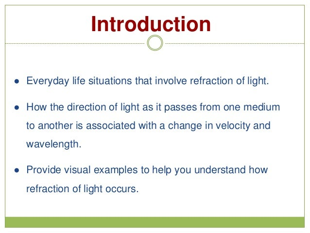 Examples Of Velocity In Everyday Life Refraction of l...
