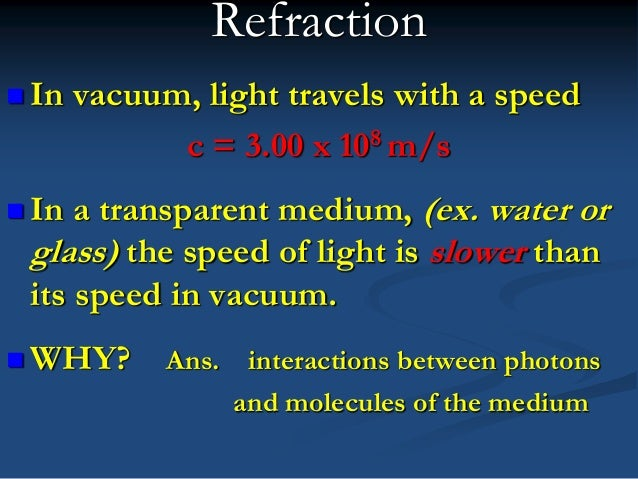 4 Refraction In Vacuum Light Travels With A Speed