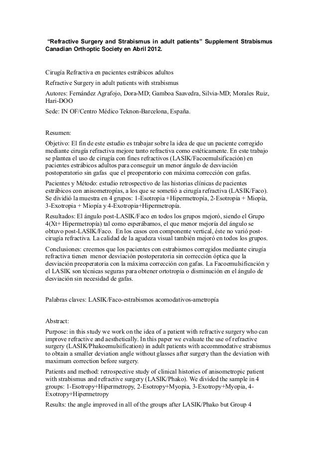 """""""Refractive Surgery and Strabismus in adult patients"""" Supplement Strabismus Canadian Orthoptic Society en Abril 2012. Ciru..."""