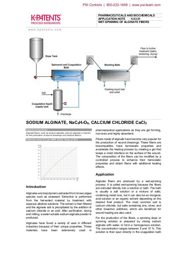 PHARMACEUTICALS AND BIOCHEMICALS APPLICATION NOTE 6.03.01 WET-SPINNING OF ALGINATE FIBERS w w w . k p a t e n t s . c o m ...