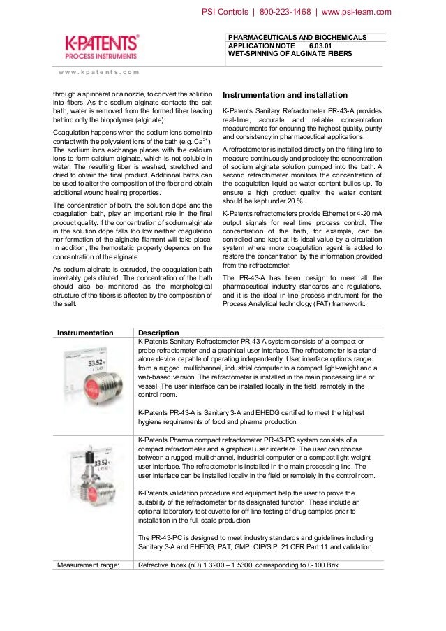 Refractometer Application for Wet Spinning of Alginate Fibers Slide 2
