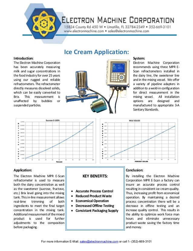For more information E-Mail: sales@electronmachine.com or call 1- (352)-669-3101 Ice Cream Application: Introduction: Syst...