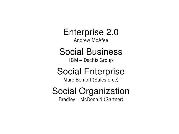 Enterprise 2.0 Social Business Social EnterpriseSocial Organization