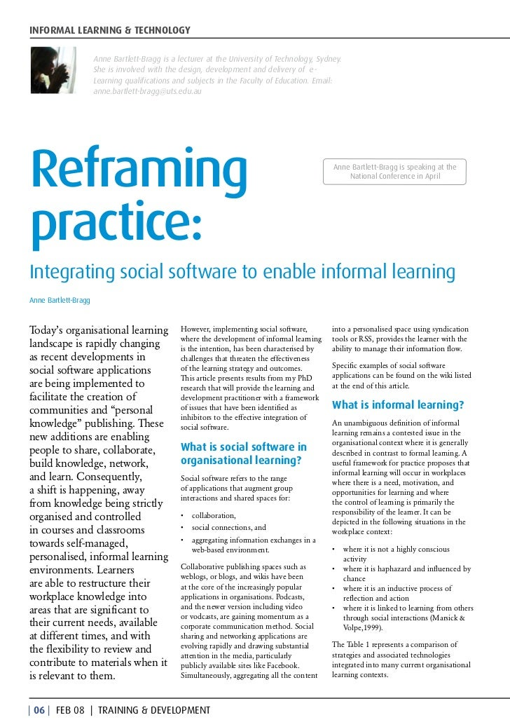 INFORMAL LEARNING & TECHNOLOGY                      Anne Bartlett-Bragg is a lecturer at the University of Technology, Syd...