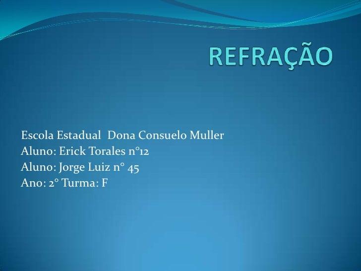 Escola Estadual Dona Consuelo MullerAluno: Erick Torales n°12Aluno: Jorge Luiz n° 45Ano: 2° Turma: F